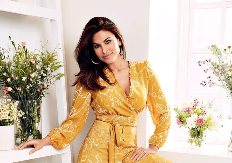 Eva Mendes on her go-to at-home loungewear look. (Photo: New York & Company)