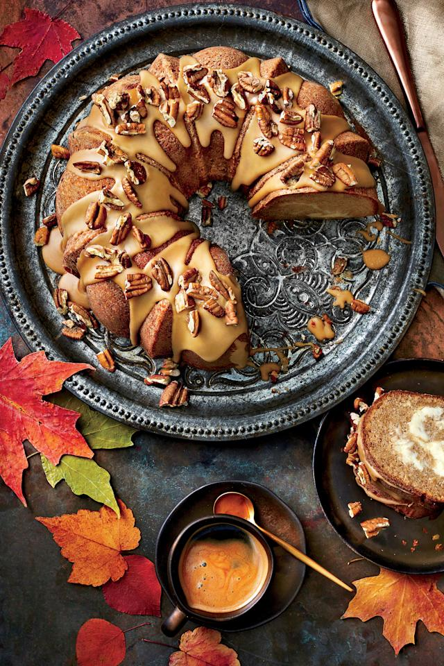 """<p><strong>Recipe: <a rel=""""nofollow"""" href=""""http://www.myrecipes.com/recipe/apple-spice-bundt-cake-caramel-frosting"""">Apple-Spice Bundt Cake with Caramel Frosting</a></strong> <strong>Recipe: <a rel=""""nofollow"""" href=""""http://www.myrecipes.com/recipe/caramel-frosting-9"""">Caramel Frosting</a></strong> </p><p>You can't get any easier than a Bundt cake. The hardest part of making this fall favorite is waiting for it to cool down enough to eat it.</p>"""