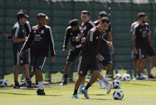 Mexico's Rafael Marquez control the ball during a training session of Mexico at the 2018 soccer World Cup in Moscow, Russia, Wednesday, June 20, 2018. (AP Photo/Eduardo Verdugo)