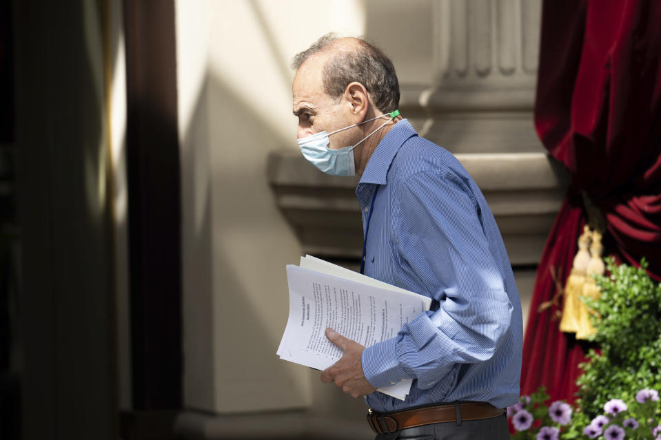 Deputy Secretary General and Political Director of the European External Action Service (EEAS), Enrique Mora, arrives in front of the 'Grand Hotel Vienna' where where closed-door nuclear talks take place in Vienna, Austria, Saturday, June 12, 2021. (AP Photo/Florian Schroetter)