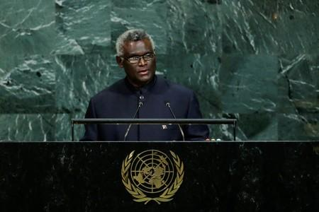Solomon Islands Prime Minister Sogavare addresses the 72nd United Nations General Assembly at U.N. headquarters in New York