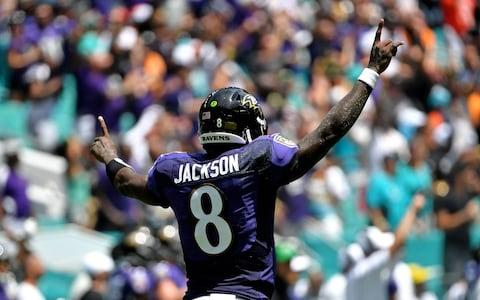 <span>Lamar Jackson threw five touchdown passes against the Dolphins</span> <span>Credit: USA Today </span>