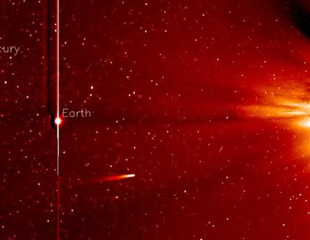 The Comet ISON is pictured in this handout image from a November 25, 2013 footage from the STEREO-A spacecraft's Heliospheric Imager by NASA. REUTERS/NASA/Handout via Reuters