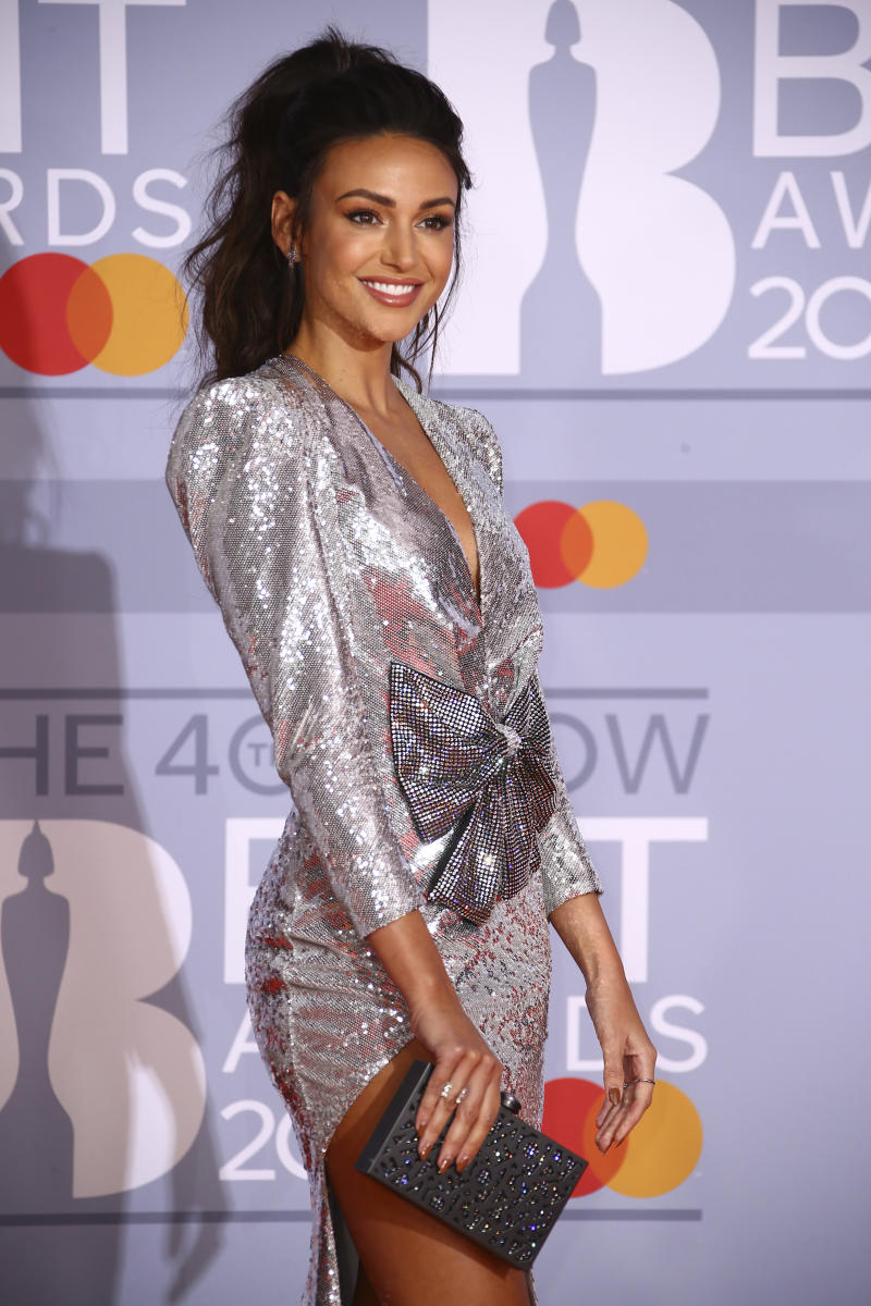 Michelle Keegan poses for photographers upon arrival at the Brit Awards 2020 in London, Tuesday, Feb. 18, 2020. (Photo by Joel C Ryan/Invision/AP)