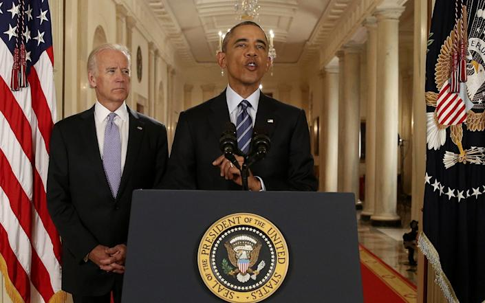 Joe Biden and Barack Obama announcing the Iran nuclear deal in 2015 - REUTERS