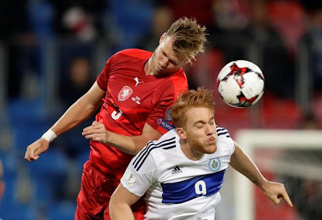 Soccer Football - 2018 World Cup Qualifications – Europe – Czech Republic vs San Marino - Doosan Arena, Pilsen, Czech Republic - October 8, 2017 Czech Republic's Tomas Kalas in action with San Marino's Marco Bernardi REUTERS/David Cerny