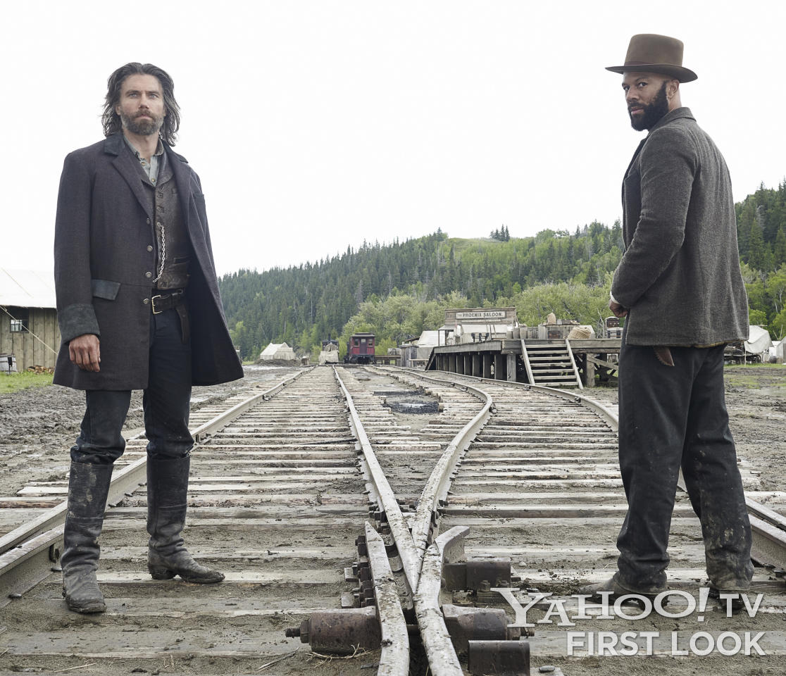 "Cullen Bohannon (Anson Mount) and Elam Ferguson (Common) in AMC's ""Hell on Wheels"" Season 3."