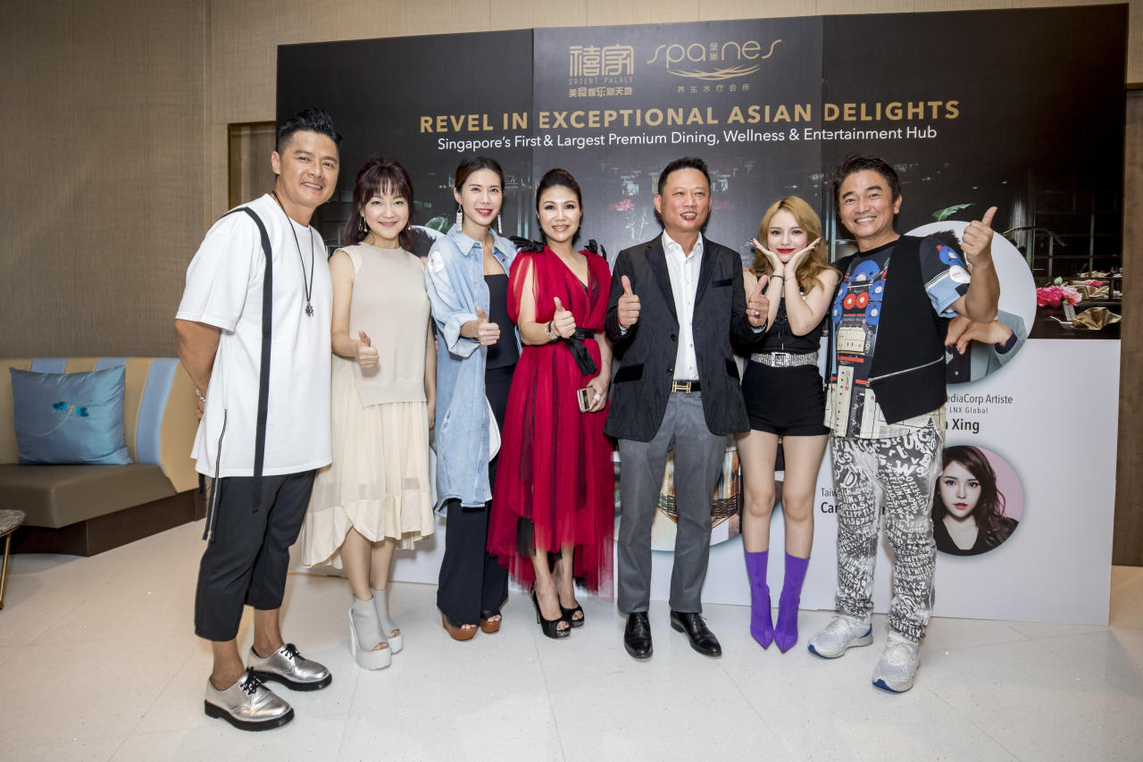 <p>Li Nanxing (李南星), Kemin (克敏), Constance Song (宋怡霏), Wendy Ho, Jason Lee, Candy Chen (陈斯亚) and Jacky Wu (吴宗宪). (Photo: Orient Palace & Spa Nes) </p>