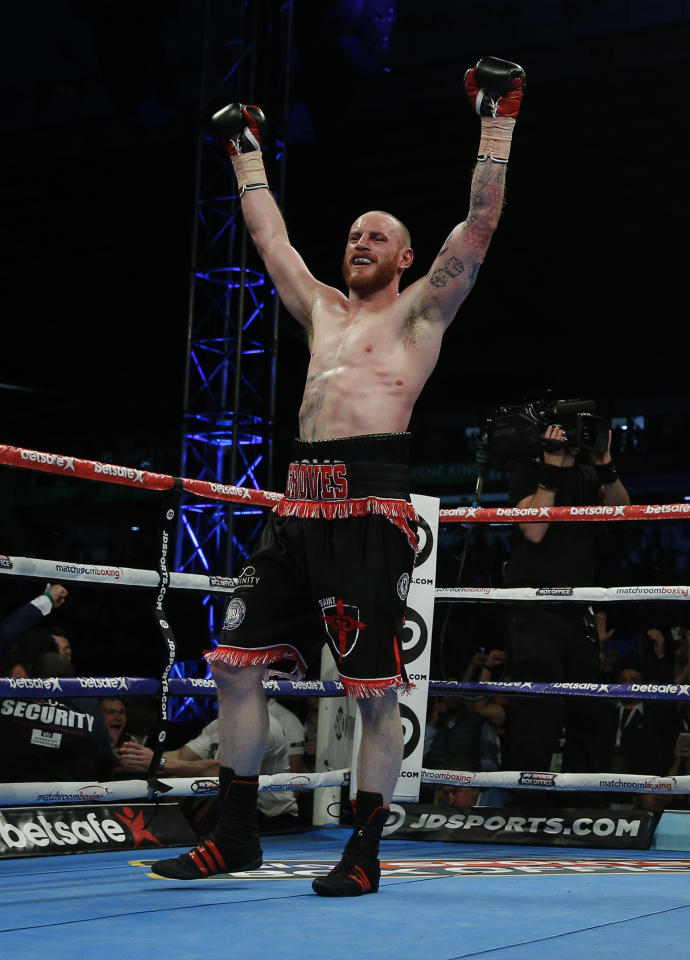 Britain Boxing - George Groves v Fedor Chudinov WBA World Super-Middleweight Title - Bramall Lane, Sheffield - 27/5/17 George Groves celebrates after victory over Fedor Chudinov to become world champion Action Images via Reuters / Andrew Couldridge Livepic