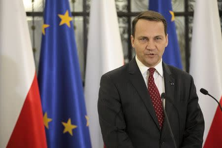 Former Polish foreign minister Radoslaw Sikorski speaks at the lower house of the Polish parliament in Warsaw