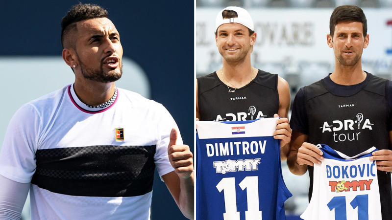 Nick Kyrgios (pictured left) giving the thumbs up and Grigor Dimitrov and Novak Djokovic (pictured right) posing for a photo holding jerseys.