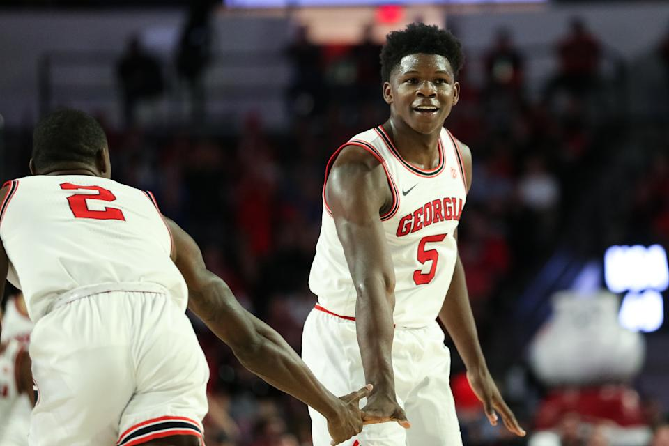 Georgia's Anthony Edwards reacts following a 3-point basket during the second half of a game against the Kentucky Wildcats. (Carmen Mandato/Getty Images)