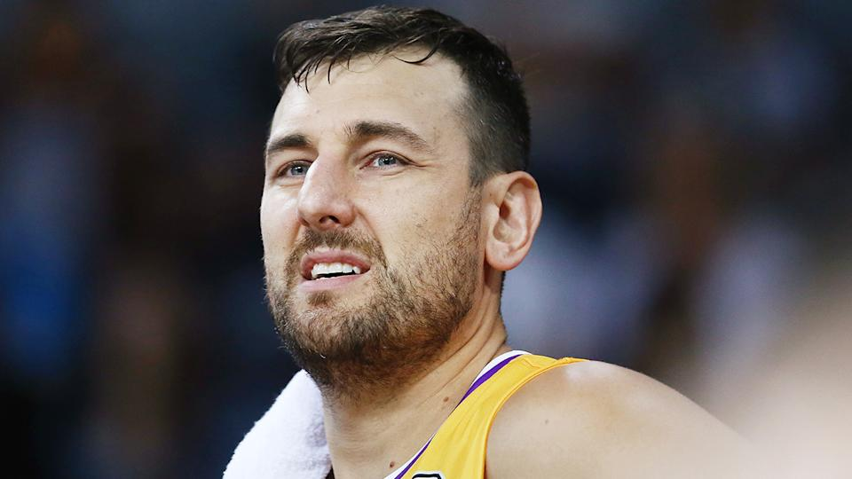 Andrew Bogut has been fined $12,000 by FIBVA for his foul-mouthed accusations of corruption during the World Cup several weeks ago. (Photo by Anthony Au-Yeung/Getty Images)