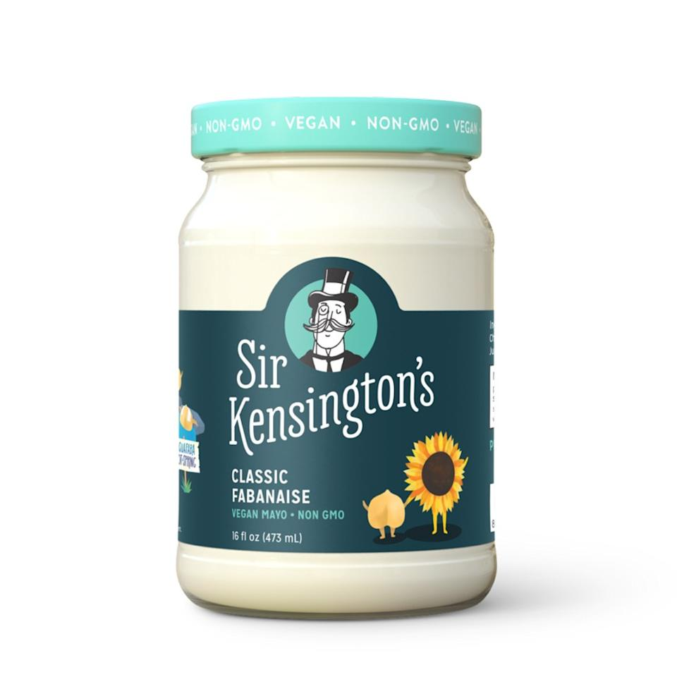 "<p>You know that slightly gooey liquid that's in the can with chickpeas? It's called aquafaba. And this vegan version of mayo, created by <a href=""https://www.sirkensingtons.com/"">Sir Kensington's</a>, uses organic aquafaba as a key ingredient to create a delightfully creamy condiment. Spread it onto sandwiches in place of regular mayonnaise.</p> <p>Find out where to buy it <a href=""https://www.sirkensingtons.com/find-us"">here</a>.</p>"