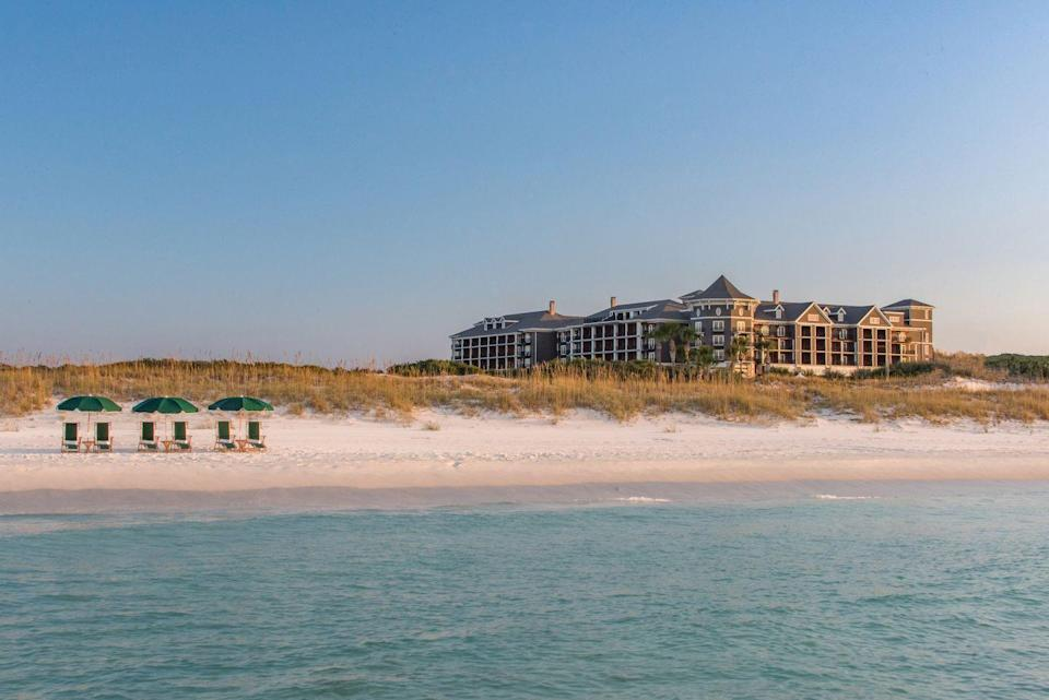 """<p><a href=""""https://www.hendersonbeachresort.com/"""" rel=""""nofollow noopener"""" target=""""_blank"""" data-ylk=""""slk:The Henderson"""" class=""""link rapid-noclick-resp"""">The Henderson</a> is one of the few places in all of Destin (and possibly 30A) where one can actually get away from it all these days. This bustling beach town suddenly becomes much more serene upon entering the resort, thanks to the Henderson's prime location adjacent to the namesake state park—its private beach is more expansive than anywhere else. However, there is plenty of fun to be had with an array of activities, wellness programming, spectacular dining, and more at this beautiful property. Plus, there is a wide array of accommodations, from oceanfront suites to poolside residences.</p>"""