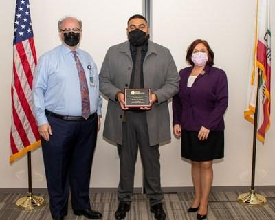 IEHP presented Daniels with a plaque honoring his ACAP Honorable Mention Award at a recent Governing Board Meeting. Pictured left to right: IEHP CEO Jarrod McNaughton, Riverside County DPSS Regional Manager Matt Daniels and IEHP Governing Board Chair and Riverside County Second District Supervisor Karen Spiegel.