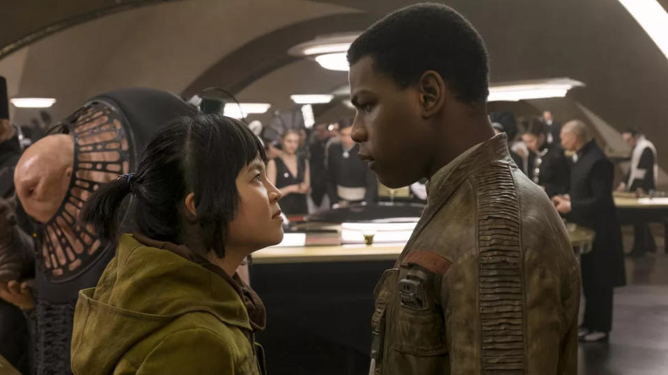 Kelly Marie Tran and John Boyega in 'Star Wars: The Last Jedi'. (Credit: Disney)