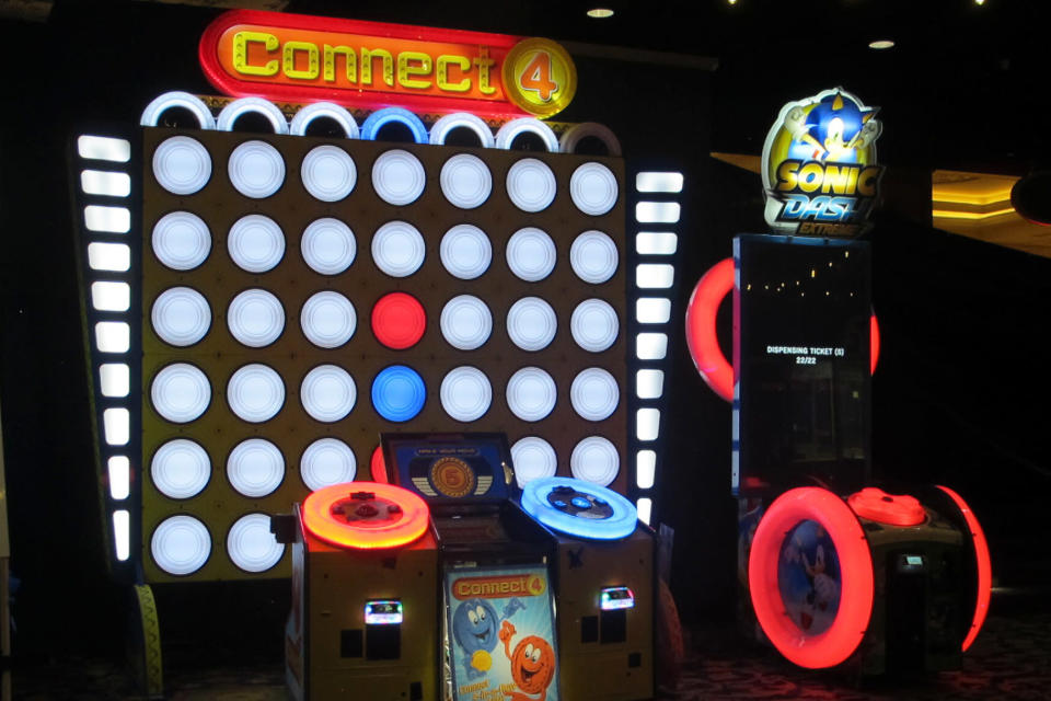 A giant Connect Four video game sits inside the soon-to-open Lucky Snake arcade Wednesday, April 21, 2021, at the former Showboat casino in Atlantic City, N.J. Philadelphia developer Bart Blatstein is spending nearly $130 million on attractions at the former Atlantic City casino including an indoor water park; a retractible domed concert hall, a beer garden and a Boardwalk sun deck to increase family entertainment options in Atlantic City. (AP Photo/Wayne Parry)