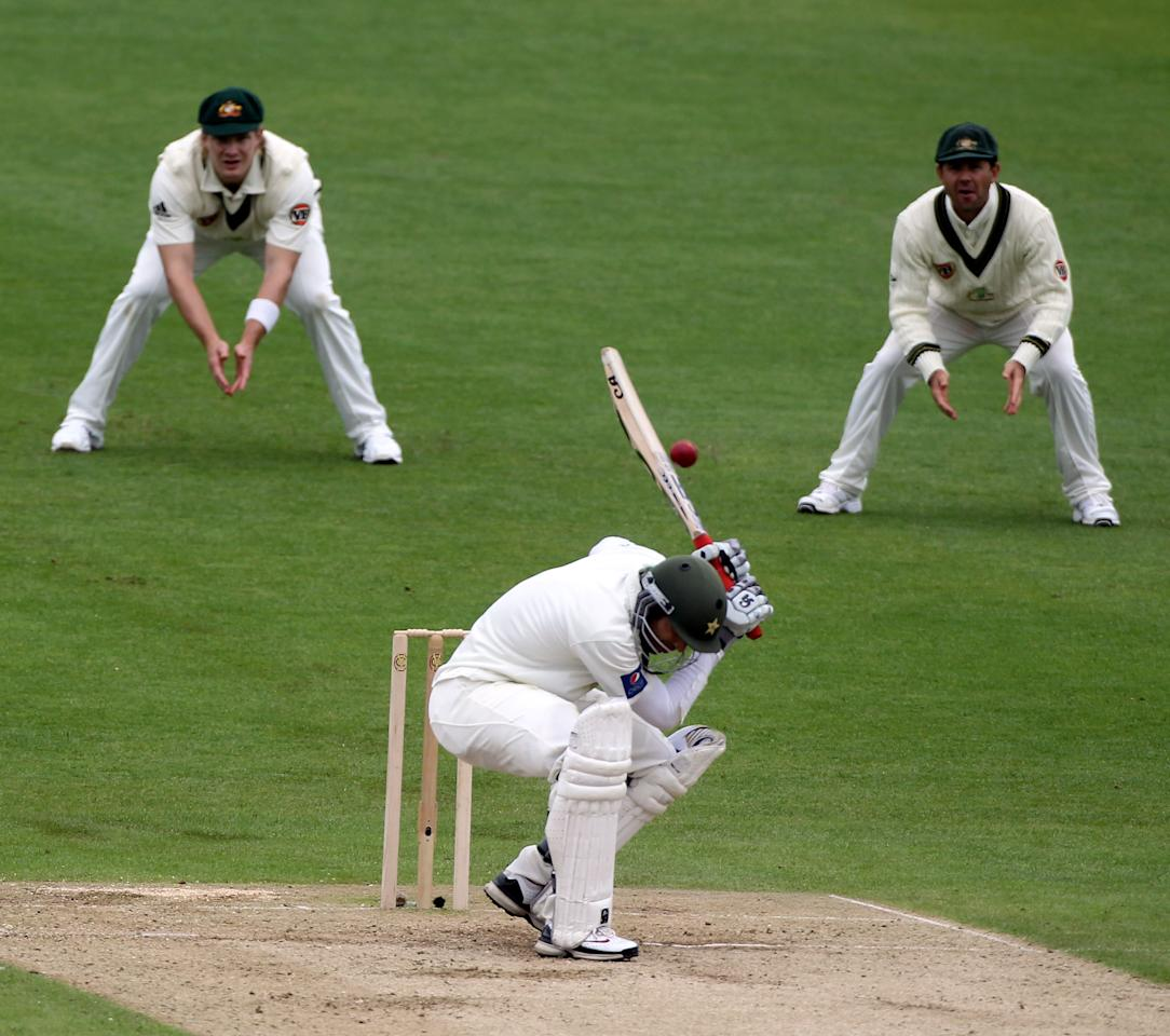 LEEDS, ENGLAND - JULY 22:  Umar Amin of Pakistan attempts to avoid a Ben Hilfenhaus delivery but ends up being caught during day two of the 2nd Test between Pakistan and Australia at Headingley Carnegie Stadium on July 22, 2010 in Leeds, England.  (Photo by Julian Herbert/Getty Images)