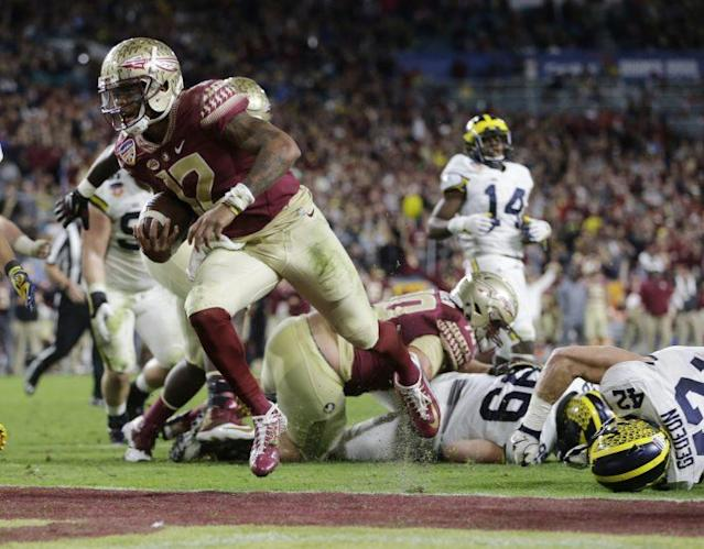 "<a class=""link rapid-noclick-resp"" href=""/ncaaf/players/256791/"" data-ylk=""slk:Deondre Francois"">Deondre Francois</a> and Florida State are the ACC favorites. (AP Photo/Alan Diaz)"