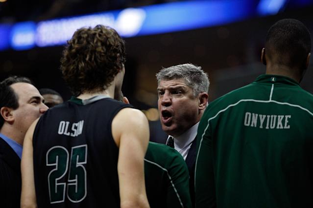 PITTSBURGH, PA - MARCH 15: Head coach Jimmy Patsos of the Loyola Greyhounds talks to his players from the bench against the Ohio State Buckeyes during the second round of the 2012 NCAA Men's Basketball Tournament at Consol Energy Center on March 15, 2012 in Pittsburgh, Pennsylvania. (Photo by Jared Wickerham/Getty Images)