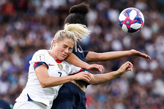 Abby Dahlkemper of USA competes for the ball during the 2019 FIFA Women's World Cup France Quarter Final match between France and USA at Parc des Princes on June 28, 2019 in Paris, France. (Photo by Zhizhao Wu/Getty Images)