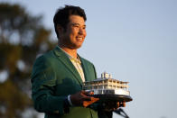 Hideki Matsuyama, of Japan, holds the trophy after winning the Masters golf tournament on Sunday, April 11, 2021, in Augusta, Ga. (AP Photo/Matt Slocum)
