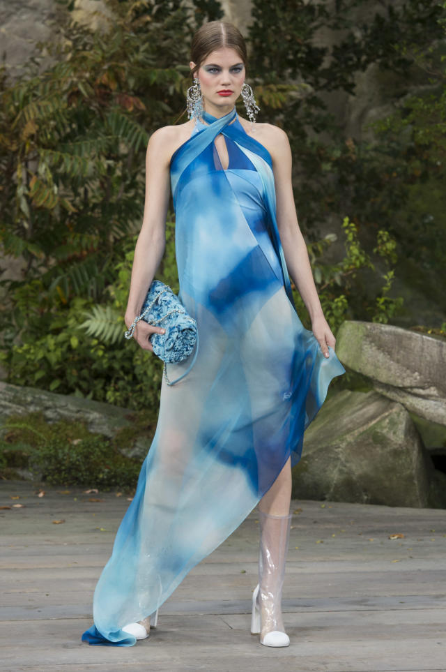 <p><i>Tie Dye blue halter dress from the SS18 Chanel collection. (Photo: ImaxTree) </i></p>