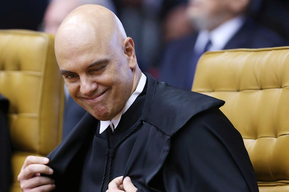 Judge Alexandre de Moraes reacts after he was nominated to the Supreme Court by Brazil's President Michel Temer (not pictured) in Brasilia, Brazil, March 22, 2017. REUTERS/Adriano Machado