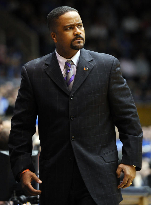FILE - In this Jan. 2, 2011, file photo, Miami's head coach Frank Haith looks on from the sidelines during the first half of an NCAA college basketball game against Duke in Durham, N.C. Missouri men's basketball coach Haith faces a 5-game suspension after the NCAA found he failed to monitor his former assistants' interactions with a disgraced Miami booster. The NCAA released the findings of its investigation into convicted felon Nevin Shapiro's relationship with Miami athletics on Tuesday, Oct. 22, 2013. It found that then-Miami coach Haith and an assistant coach provided Shapiro $10,000 after he threatened to expose previous improper contact with high school recruits and amateur coaches. (AP Photo/Sara D. Davis, File)