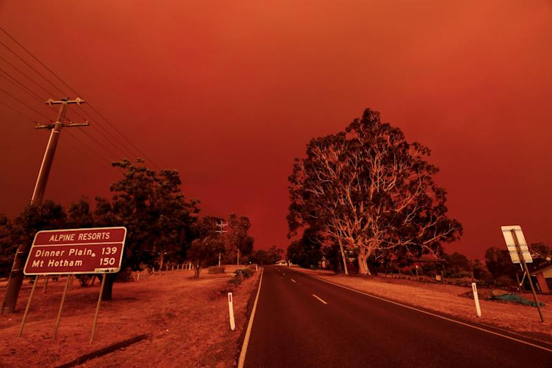 The sky turns red from the fires in Omeo, Victoria, on January 04, 2020.