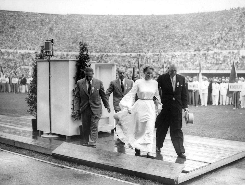 """<p>Known as the """"Girl in White,"""" Barbara Rotraut Pleyer was a German student who decided to crash the Olympics podium and <a href=""""https://www.nytimes.com/1952/07/21/archives/girl-in-white-gets-police-reception-west-german-authorities-at.html"""" rel=""""nofollow noopener"""" target=""""_blank"""" data-ylk=""""slk:make a speech to the crowd"""" class=""""link rapid-noclick-resp"""">make a speech to the crowd</a> at the 1952 opening ceremony in Helsinki. </p>"""