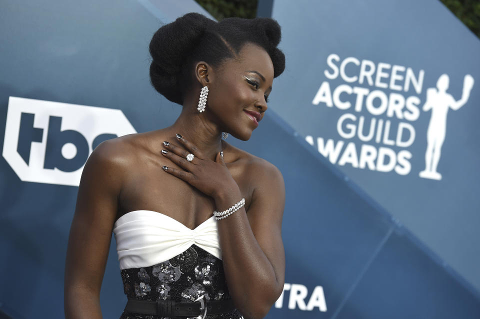 Lupita Nyong'o arrives at the 26th annual Screen Actors Guild Awards at the Shrine Auditorium & Expo Hall on Sunday, Jan. 19, 2020, in Los Angeles. (Photo by Jordan Strauss/Invision/AP)