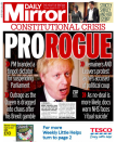 """The Daily Mirror ran a front page headline with """"PRO"""" and """"ROGUE"""" in different colours for emphasis, warning of what may happen as a result of a no-deal Brexit. (Twitter)"""