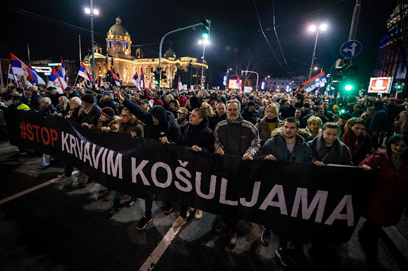 Protesters at one rally held a banner reading 'Stop to bloody shirts', a reference to an attack last November on an opposition politician that set off this round of protests (AFP Photo/ANDREJ ISAKOVIC)