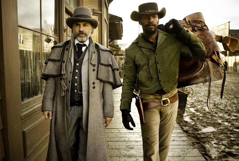 """FILE - This undated publicity file image released by The Weinstein Company shows, from left, Christoph Waltz as Schultz and Jamie Foxx as Django in the film """"Django Unchained,"""" directed by Quentin Tarantino. MTV announced Tuesday, March 5, 2013, that """"Django Unchained"""" and """"Ted"""" each have seven bids at the annual MTV Movie Awards set to air live on April 14 from the Sony Pictures lot in Culver City, Calif.  (AP Photo/The Weinstein Company, Andrew Cooper, SMPSP, File)"""