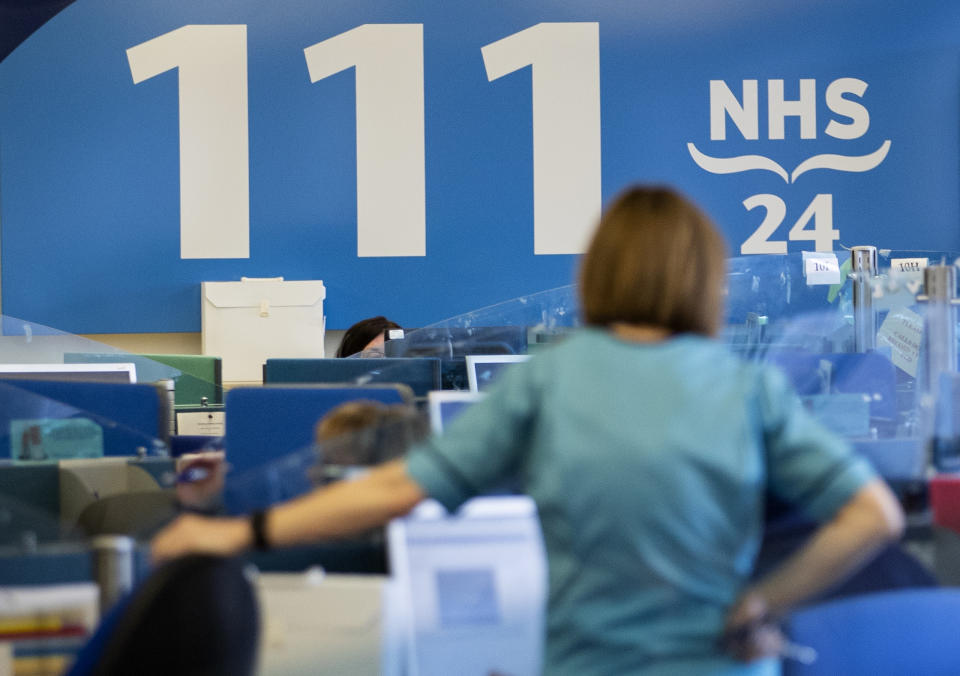 The NHS 24 contact centre at the Golden Jubilee National Hospital in Glasgow which First Minister Nicola Sturgeon visited to meet staff supporting Scotland�s public information response to coronavirus (COVID-19).