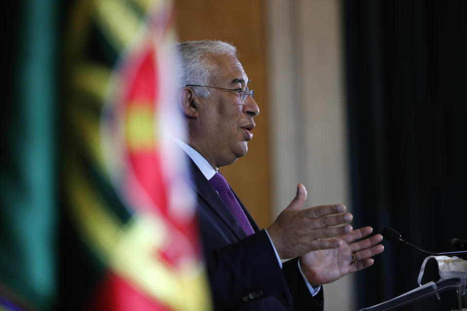 Portuguese Prime Minister Antonio Costa addresses the country to announce a new lockdown starting Jan. 15, in Lisbon, Wednesday, Jan. 13, 2021. The announcement comes after a steady resurgence of virus infections during the past few weeks. (AP Photo/Armando Franca)