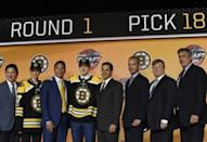 June 23, 2017; Chicago, IL, USA; Urho Vaakanainen poses for photos after being selected as the number eighteen overall pick to the Boston Bruins in the first round of the 2017 NHL Draft at the United Center. Mandatory Credit: David Banks-USA TODAY Sports