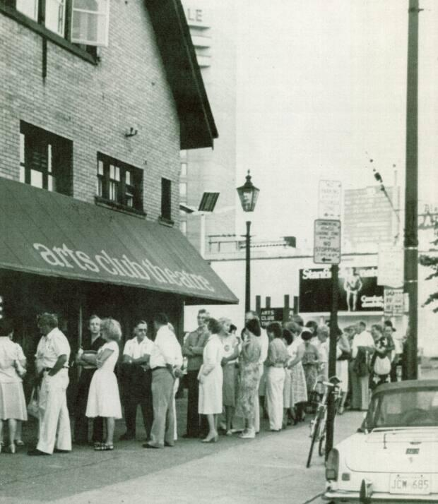 An archival photo shows a lineup of patrons outside the Vancouver Arts Club's Seymour Street theatre in 1978. (Submitted by Vancouver Arts Club - image credit)