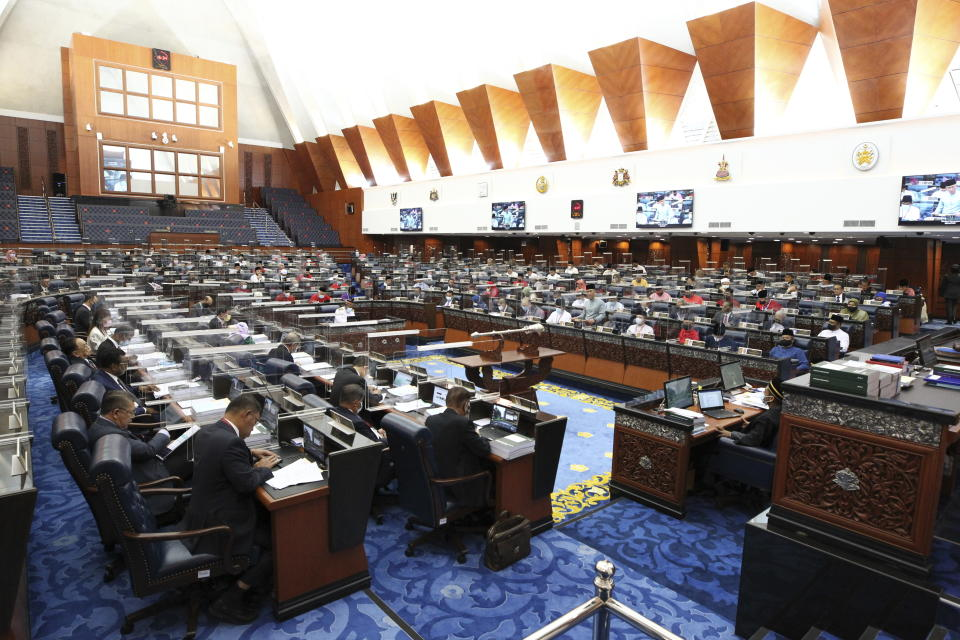 The parliament hears the 2021 budget speech in Kuala Lumpur, Malaysia, Friday, Nov. 6, 2020. (AP Photo)