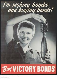 A wartime advertisement showing a woman holding a bomb