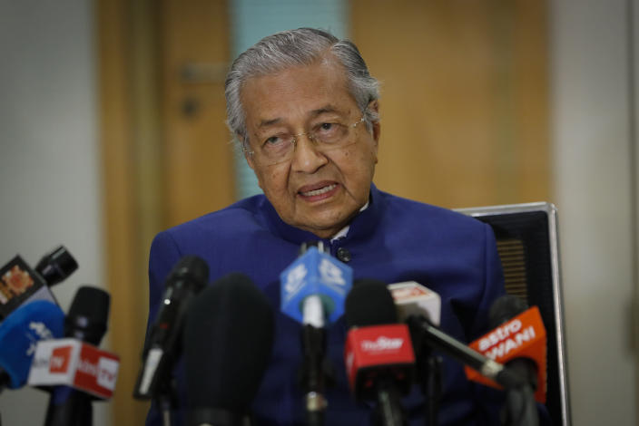 Former Prime Minister Mahathir Mohamad, speaks during a press conference in Kuala Lumpur, Friday, Aug. 7, 2020. Mahathir, 95, said Friday he would form a new ethnic Malay party to fight corrupt leaders, more than two months after he was sacked from his own party amid a political struggle with his successor. (AP Photo/Vincent Thian, Pool)