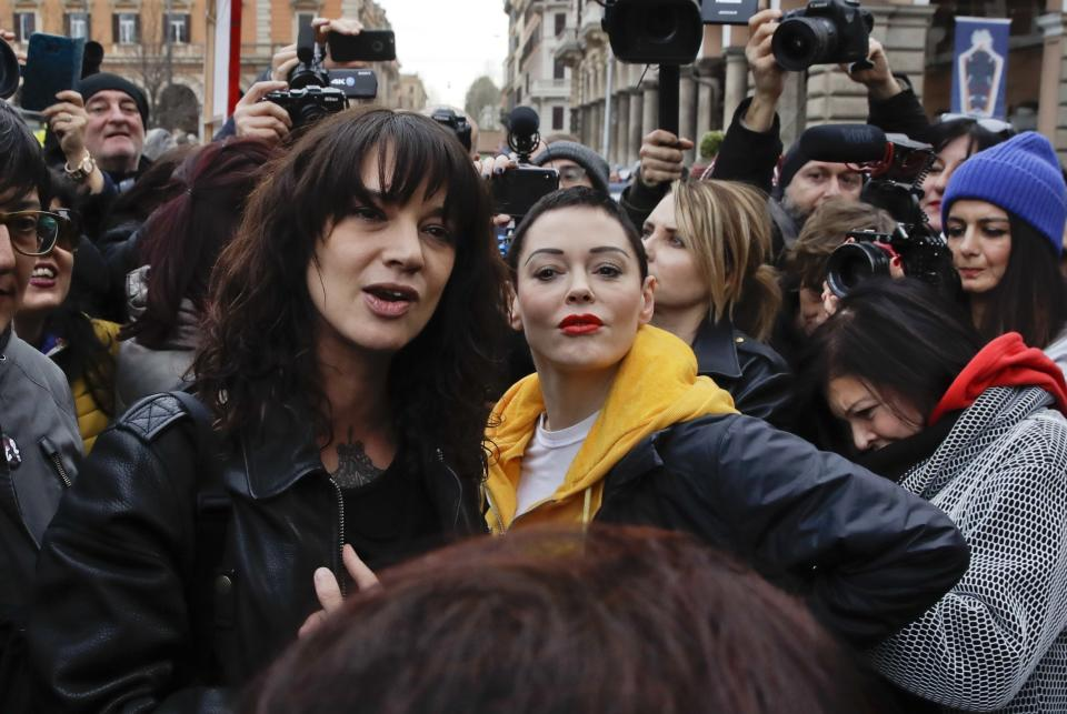 Argento and McGowan participated in International Women's Day in Rome on March 8, 2018. Their friendship ended in August. (Photo: Alessandra Tarantino/AP)