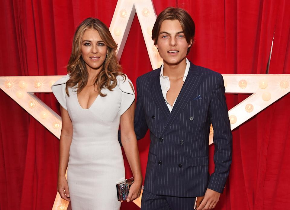 """Elizabeth Hurley (L) and son Damian Hurley attend the World Premiere of """"Paddington 2"""" at Odeon Leicester Square on November 5, 2017 in London, England.  (Photo by David M. Benett/Dave Benett/WireImage)"""