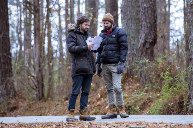 The Duffer Brothers on the <em>Stranger Things</em> Season 2 set. (Photo: Netflix)