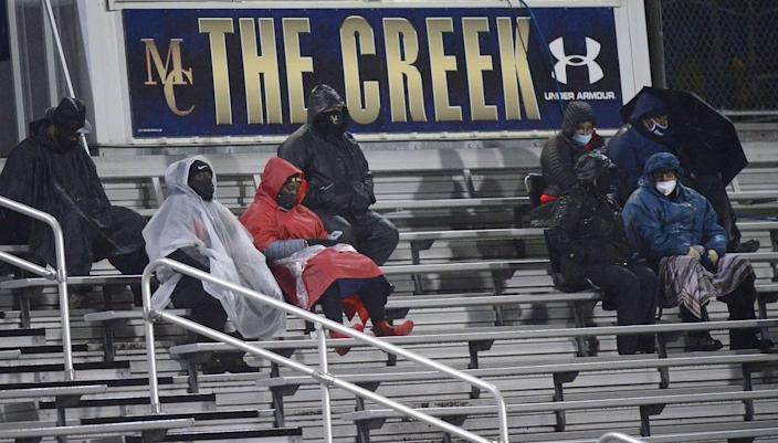 Fans brave the cold rain on Friday, February 26, 2021 to watch the Mallard Creek Mavericks host the Vance Cougars in prep football action.