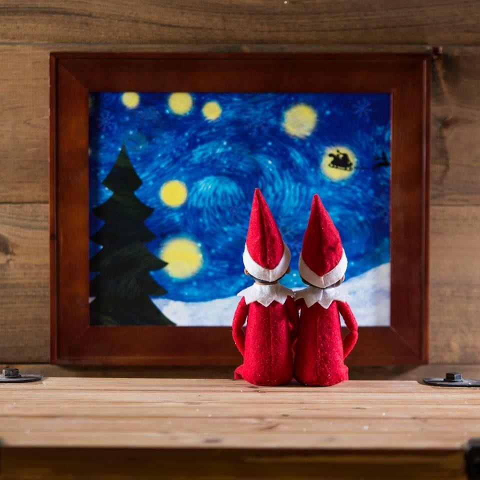 """<p>Elves have highbrow tastes too, you know. Here, they're appreciating a classic work of art—with a little Christmastime twist.</p><p><strong>Get the tutorial at <a href=""""https://www.facebook.com/elfontheshelf/photos/a.287910360524/10161804095640525/?type=3&theater"""" rel=""""nofollow noopener"""" target=""""_blank"""" data-ylk=""""slk:Elf on the Shelf"""" class=""""link rapid-noclick-resp"""">Elf on the Shelf</a>.</strong></p><p><strong><a class=""""link rapid-noclick-resp"""" href=""""https://www.amazon.com/Culturenik-Vincent-Starry-Decorative-Unframed/dp/B00WXE4K5M/ref=sr_1_3?tag=syn-yahoo-20&ascsubtag=%5Bartid%7C10050.g.22690552%5Bsrc%7Cyahoo-us"""" rel=""""nofollow noopener"""" target=""""_blank"""" data-ylk=""""slk:SHOP STARRY NIGHT POSTERS"""">SHOP STARRY NIGHT POSTERS</a><br></strong></p>"""