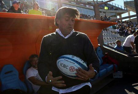 Rugby Union - Argentina v England - San Juan del Bicentenario Stadium, San Juan, Argentina - 10/06/17 - Argentina's coach Daniel Hourcade catches a ball before the start of the match. REUTERS/Marcos Brindicci