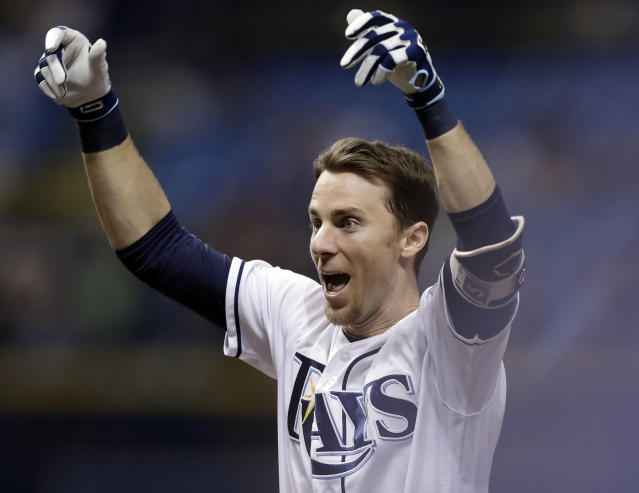 Tampa Bay Rays' Matt Duffy celebrates his game-winning RBI single off Toronto Blue Jays relief pitcher Ryan Tepera in the ninth inning of a baseball game Wednesday, June 13, 2018, in St. Petersburg, Fla. The Rays won the game 1-0. (AP Photo/Chris O'Meara)